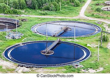 vue aérienne, de, plante traitement eau, à, rond, colons