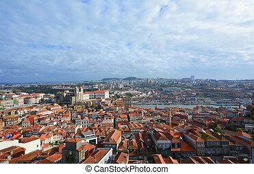 vue aérienne, de, porto, portugal.