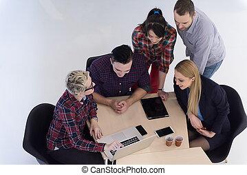 vue aérienne, de, professionnels, groupe, sur, réunion