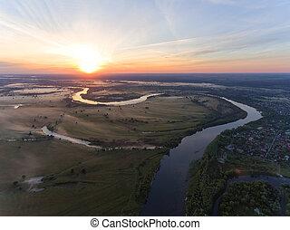 vue aérienne, de, rivière, à, levers de soleil