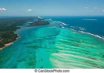 vue aérienne, de, sainte, marie, île, madagascar