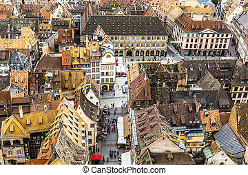 vue aérienne, de, strasbourg, à, les, vieille ville