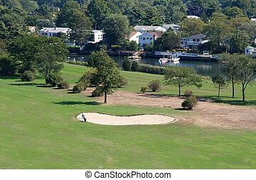 vue aérienne, de, terrain de golf