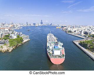 vue aérienne, de, ville, dans, taiwan, -, kaohsiung, port