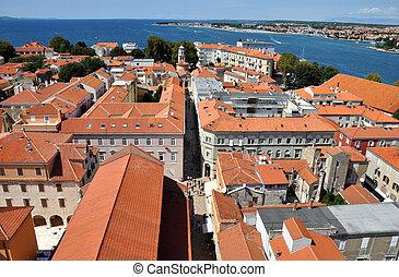 vue aérienne, de, zadar, croatie