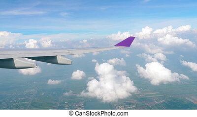 vue aérienne, descendre, avion