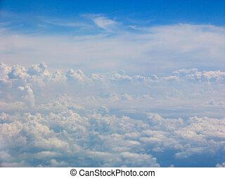 vue aérienne, nuages, champ