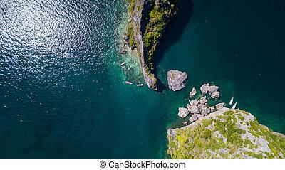 vue aérienne, paysage, de, île