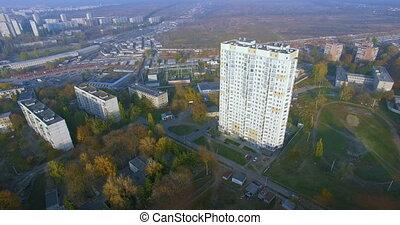 vue aérienne, résidentiel, gratte-ciel, kharkiv, automne, ...