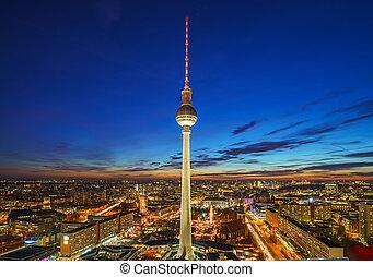 vue aérienne, sur, alexanderplatz, dans, berlin