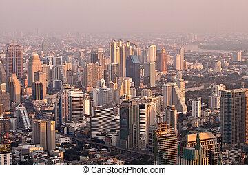 vue aérienne, sur, bangkok, dans, coucher soleil