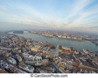 vue aérienne, sur, budapest