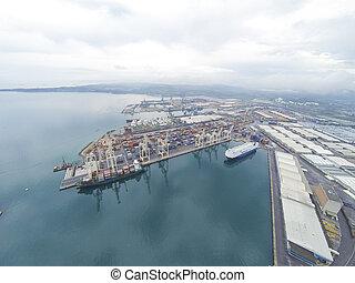 vue aérienne, sur, koper, port