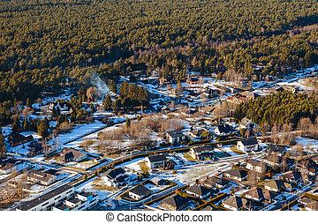 vue aérienne, sur, privé, maisons, dans, les, forêt