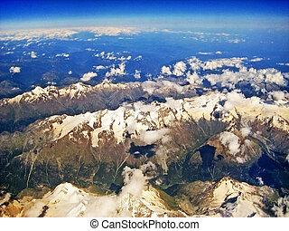 vue aérienne, vers, saas-honoraires, suisse