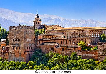 vue, alhambra, grenade, coucher soleil
