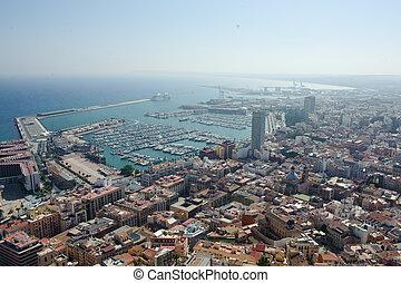 vue,  Alicante, aérien, crépuscule