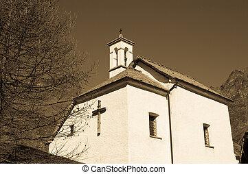 vue, angle, bas, église