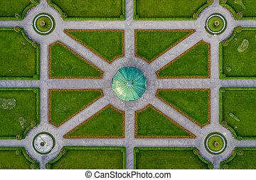 vue, au-dessus, photo., temple, architecture, centre, aérien, vert, populaire, directement, parc, sommet, symmetrial, sien, bas