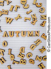 vue, automne, cahier, lettres, locution, blanc, dispersé, sommet, bois