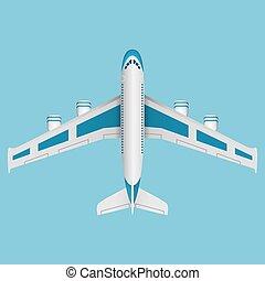 vue., avion, vecteur, sommet