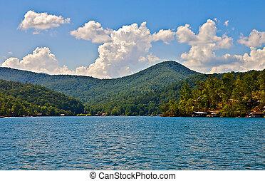 vue, beau, lac, mountian