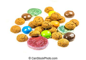 vue, biscuits, tas, chocolat, pepernoten, bonbons, argent, ...