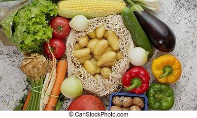 vue., blanc, eco, sommet, sacs, légumes, réutilisable, ...