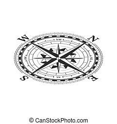 vue, blanc, vendange, classique, rose, symbole, vent, isométrique, compas, isolé, icône