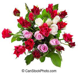 vue, bouquet, roses, sommet coloré