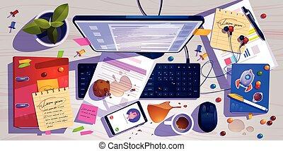 vue, bureau, désordre, désordre, sommet, bureau, lieu travail