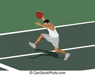 vue côté, de, a, joueur basket-ball, dans action