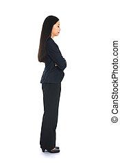 vue côté, de, affaires asiatiques, pensée femme, plein portrait longueur, isolé, blanc, arrière-plan.