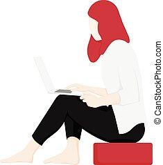 vue, côté, séance, portable utilisation, femme