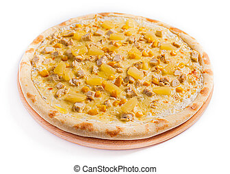 vue., côté, taille, pizza, pizza., voyante, stockage, isoler, photo
