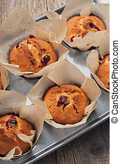 (, vue, canneberges, above), muffins