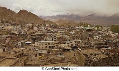 vue, captiver, ville, leh, inde, ladakh