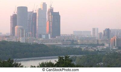 vue, centre ville, vorobievy, business, moscou, montagnes