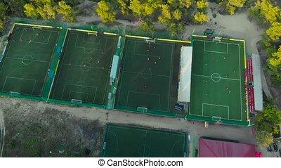 vue, champs football, aérien