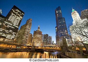 vue, chicago, cityscape, rivière