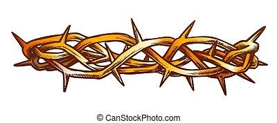 vue, christ, côté, couronne, épines, jésus, couleur, vecteur