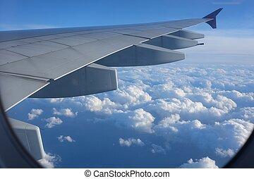 vue, ciel, beau, avion
