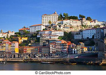 vue, city., porto, remblai, rivière, douro, portugal.