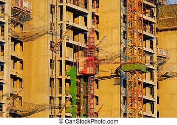 vue, construction, angle, site, bas