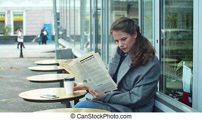 vue, couverture, côté, journal, lecture, gris, girl, café