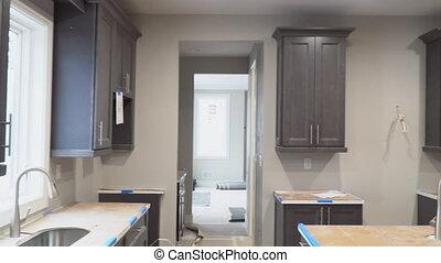 vue, cuisine, installed, remodeler, amélioration, maison, nouveau