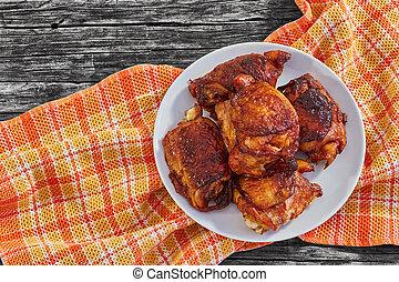 vue, délicieux, poulet, au-dessus, cuisse, grillé