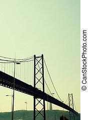 vue, de, 25e, de, avril, pont, dans, lisbonne, portugal
