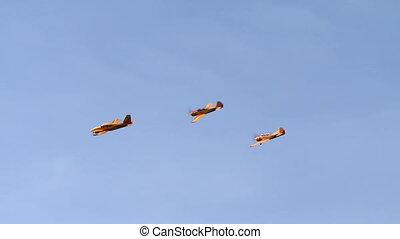 vue, de, jaune, avions, mouche, dans, formation