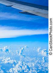 vue, de, les, aile, de, une, avion, par, les, fenêtre